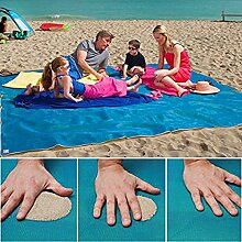 Sand frei Strand Matte Teppich Picknick Decke, Schnell Trocken leicht zu reinigen ideal für den Strand Picknick Camping Outdoor Veranstaltungen Teppich Beach Decke Matte,Blau M(200cm*200cm)