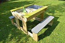 Sand-, Wasser und Picknicktisch mit 2 Bank / Sand und Wasser Spieltisch / Picknicktisch aus Holz mit 2 Sitzbänke