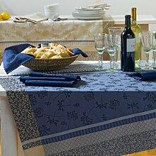 Sander Tischdecke Jacquard blau Größe 150x200 cm