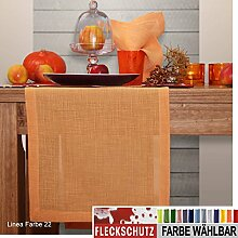 sander Tischdecke LINEA mit FLECKSCHUTZ Größe wählbar Farbe 22 orange Leinenoptik (170cm rund)