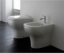 Sanitär Draht Wand Keramik Globo Genesis 51WC + Bidet + Sitz, braun