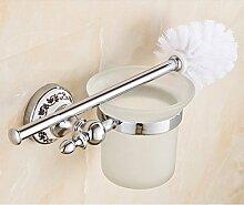 Sanitär- Hygiene- oder Toilettenartikel blaue und weiße Keramik WC Bürstenhalter Europäische pastorale wc-bürste Rack