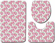 Sanitär Klein Floral Rosa Grün Dreiteilige Toilette Matten Fußmatten Flanell,G