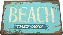 Sanixa PA32050 Vintage Anti-Rutsch Badematte Beach