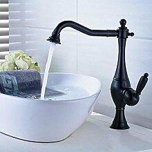Sanlingo Schwenkbare Retro Waschbecken Waschtischarmatur Waschschale Einhebelmischer Mischbatterie Schwarz Brünier