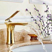 Sanlingo Waschbecken Wasserfall Waschtischarmatur Armatur Wasserhahn Einhebelmischer Mischbatterie Gold