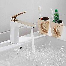 Sanlingo Waschtischarmatur Armatur Einhebel Wasserhahn Mischbatterie Gold Weiss