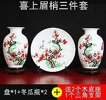 SANMULYH Kreative Keramik Vase Drei Stück Wohnungseinrichtung Wohnzimmer Dekoration Basteln Schmuck, J