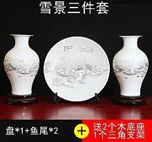 SANMULYH Kreative Keramik Vase Drei Stück Wohnungseinrichtung Wohnzimmer Dekoration Basteln Schmuck, O