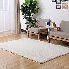 Sannix Shaggy-Teppich, modern, weich, für Wohnzimmer/Schlafzimmer, waschbar, Polyester Textil Schwamm, weiß, 39*39 inch