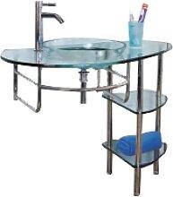 Sanotechnik Glaswaschtisch mit Ablagen