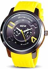 Sansee Bunte Studenten Silikon Armbanduhr Männer Männlich Uhr Minimalistischen Konnotation Geschenk Armbanduhr (Gelb)