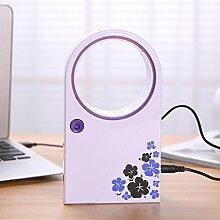 Sansee USB Mini Tischventilator Tragbar Blattlose Kühlung Desktop Ventilator (Lila)