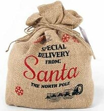 "Santa Sack Stil Sackleinen Jute Weihnachten Türstopper Home Party Dekoration Geschenk Rustikal Vintage ""Special Delivery von: Santa the North Pole"