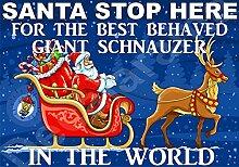 Santa Stop Here für die Best Behaved GIANT SCHNAUZER in der Welt laminiert Schild Christmas Novelty/lustiges Geschenk Hund Puppy