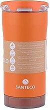 Santeco Origami Thermal Becher, 473ml Doppelwandige Edelstahl Kaffeetasse mit Undicht Deckel- Orange