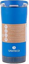 Santeco Origami Thermal Becher, 473ml Doppelwandige Edelstahl Kaffeetasse mit Undicht Deckel- Blau
