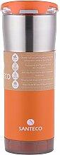 Santeco Origami Thermal Becher, 590ml Doppelwandige Edelstahl Kaffeetasse mit Undicht Deckel- Orange