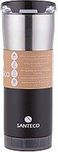 Santeco Origami Thermal Becher, 590ml Doppelwandige Edelstahl Kaffeetasse mit Undicht Deckel- Schwarz