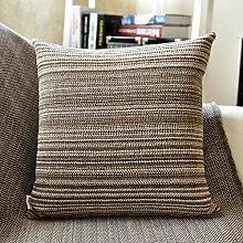 SANTIAN Back Stuffed Kissen Kissen Taille Kissen Coffee grey stripe (woven pillow) 60*60cm pillowcase + Pillow Core