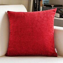 SANTIAN Back Stuffed Kissen Kissen Taille Kissen Dark red (double Fleece Pillow) 45*45cm pillowcase + Pillow Core