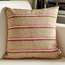 SANTIAN Back Stuffed Kissen Kissen Taille Kissen Khaki Color Stripe 55*55cm pillowcase + Pillow Core