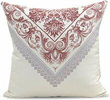 SANTIAN Back Stuffed Kissen Kissen Taille Kissen Red 50X50cm [pillow containing core]