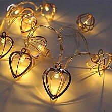 SANVA Rosé Gold Metall Laternen Herz Lichterkette, batteriebetrieben, 10 LEDs, 20 LEDs warmweiß (10 LEDs Herz)