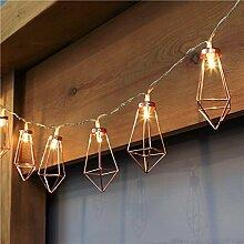 SANVA Rosé Gold Metall Laternen Herz Lichterkette, batteriebetrieben, 10 LEDs, 20 LEDs warmweiß (10 LEDs Laternen)