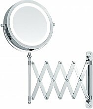 Sanwood ALICIA 6652400, LED-Beleuchtung Scherenspiegel mit 5-fach Vergrößerung Wandspiegel ausziehbar - batteriebetrieben, Metall, Chrom, 3.7 x 26 x 37 cm