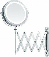 Sanwood Alicia LED Scherenspiegel 6652400 Kosmetikspiegel Beleuchtung 5-Fach Vergrößerung Wandspiegel Ausziehbar-Batteriebetrieben, Metall, Chrom, 3.7 x 26.0 x 37.0 cm
