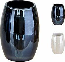 Sanwood Mundspülbecher PEARL schwarz mit Perlmutt-Effekt - Zahnputzbecher rund 10,7 x Ø 7,4 cm - Spiegel-Effek