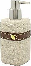 Sanwood Seifenspender CHIARA beige aus Polyresin mit Kunstlederband - quadratisch - bruchfest und stabil - Pumpe Nickel verchromt - Inhalt 270 ml
