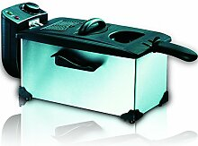 SAPIR SP-1980-XSD Elektrische Edelstahl-Friture abnehmbarer emaillierter Topf Filter-Fenster, 3 L, 2200 W, schwarz