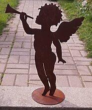 Saremo Edelrost Engel mit Trompete 57cm auf
