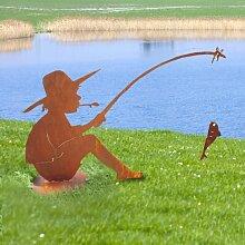 SAREMO Rost Angler MANNI mit Angel und Fisch auf