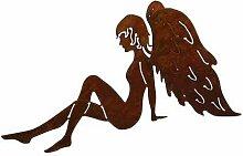 SAREMO Rost Engel sitzend, mit ausgebreiteten