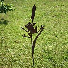 SAREMO Rost Frosch an Schilf Stecker H ca. 120 cm