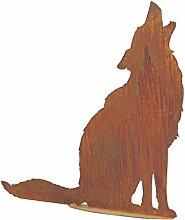SAREMO Rost heulender Wolf auf Platte, H ca. 73 cm