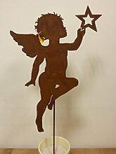 Saremo Rostdekoration, Topfstecker Engel aus Metall, 50 cm, Gartendeko