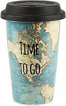 SASS & BELLE Thermo Becher aus Porzellan TAZA021 Time to go mit Weltkarte Coffee to go Becher