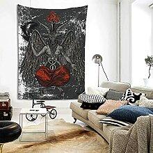 Satan Baphomet Satanic Okkult 3D Retro Tapisserie