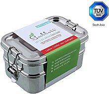 Sattvii® Edelstahl Eco Lunchbox & Brotdose | TÜV