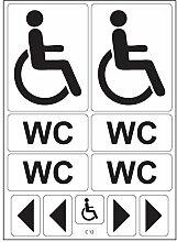 Satz Aufkleber, für WC, Toilette, Behinderte, A4, selbstklebend, C12