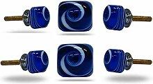 Satz von 6 Glas Jairo Square White auf blauen