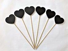 Satz von 6 Herzen Chalk Board Picks Hochzeit Tabellenname Platz Pflanze Kraut Pot Stakes