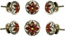 Satz von 6 Keramik Gypsy Flower Schubladengriffe