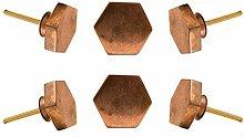 Satz von 6 Schranktürknöpfen Sechskant Kupfer