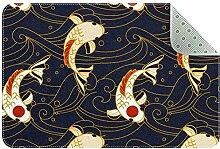 Saugfähige Badematte Koi Fisch Wellen Kanagawa