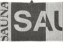 Sauna 0253-075-150-155-eko Badetuch, Leinen / Baumwolle, 150 x 75 x 1 cm, Grau / Weiß